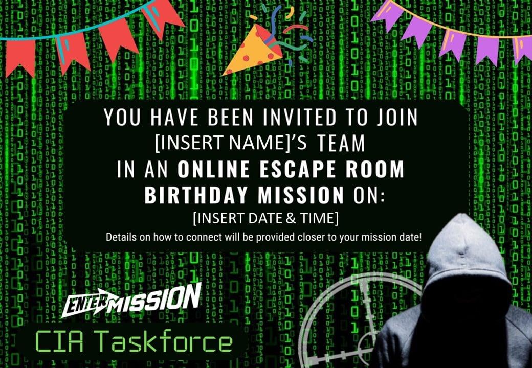 CIA Taskforce Invitation Online Escape Room